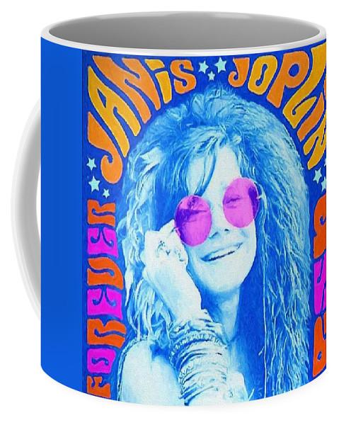 Janis Joplin Watercolor Coffee Mug featuring the painting Janis Stamp Painting by Dan Sproul