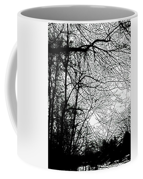 January Beauty Coffee Mug featuring the digital art January Beauty 2 Black And White by Brenda Plyer