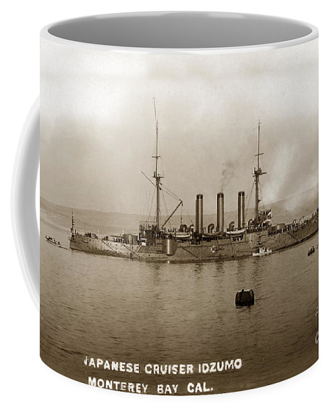Japanese Cruiser Coffee Mug featuring the photograph Japanese Cruiser Izumo In Monterey Bay December 1913 by California Views Archives Mr Pat Hathaway Archives