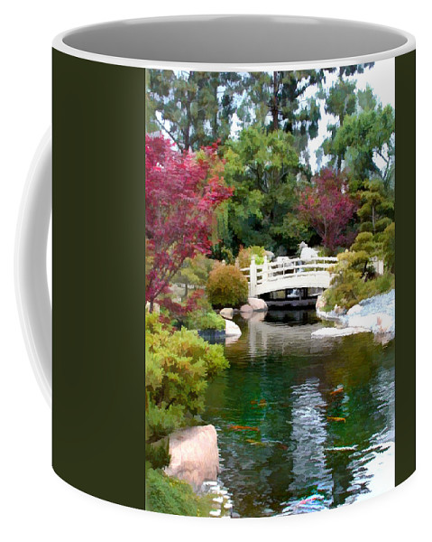 Nature Coffee Mug featuring the painting Japanese Garden Bridge And Koi Pond by Elaine Plesser