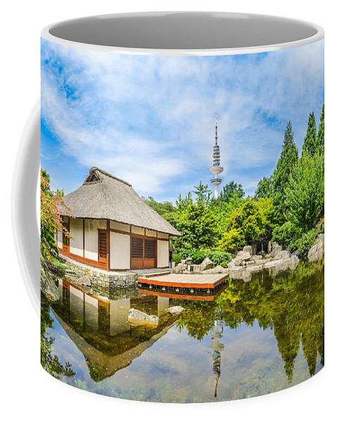 Asia Coffee Mug featuring the photograph Japanese Garden In Park With Tower by JR Photography