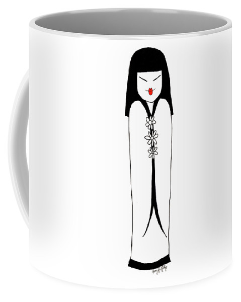 Japanese Coffee Mug featuring the drawing Japanese Lady by Kerry Griffiths