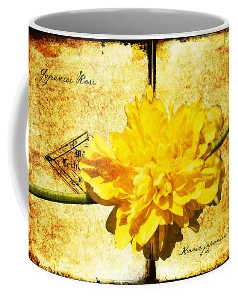 Kerria Coffee Mug featuring the digital art Japanese Rose by Teresa Mucha