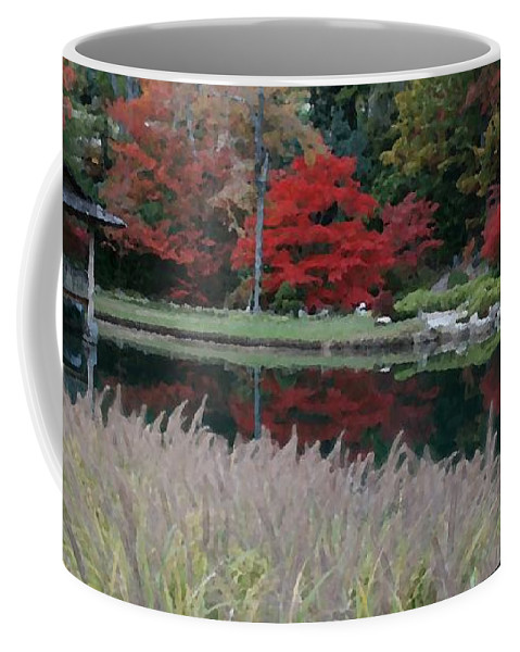 Japanese Coffee Mug featuring the mixed media Japanese Serenity by Tina Meador