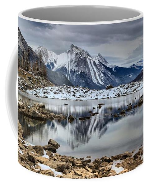 Coffee Mug featuring the photograph Jasper Medicine Lake Reflections by Adam Jewell