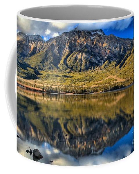 Pyramid Lake Coffee Mug featuring the photograph Jasper Pyramid Lake Reflections by Adam Jewell