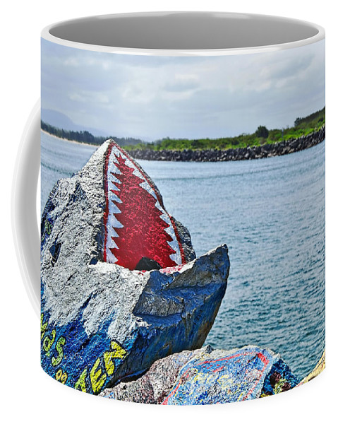 Photography Coffee Mug featuring the photograph Jaws - Beach Graffiti by Kaye Menner