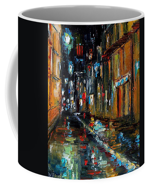 New Orleans Coffee Mug featuring the painting Jazz Alley by Debra Hurd