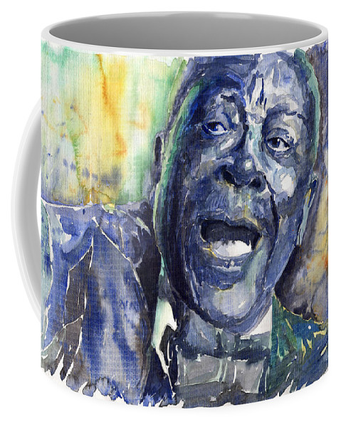 Jazz Coffee Mug featuring the painting Jazz B.b.king 04 Blue by Yuriy Shevchuk