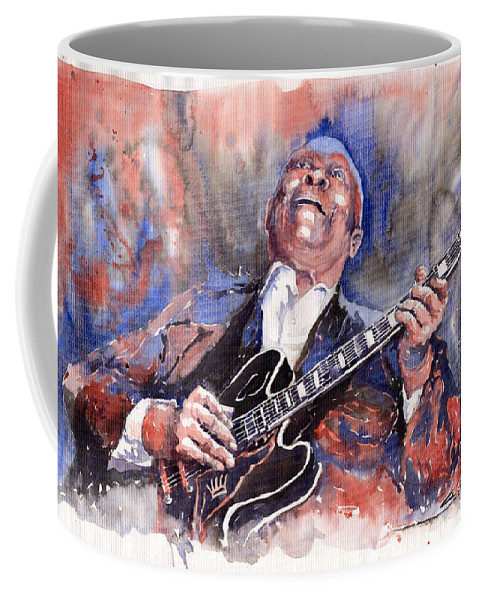 Jazz Coffee Mug featuring the painting Jazz B B King 05 Red a by Yuriy Shevchuk