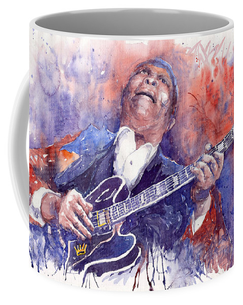 Jazz Coffee Mug featuring the painting Jazz B B King 05 Red by Yuriy Shevchuk
