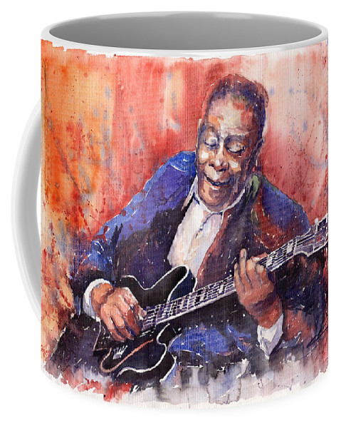 Jazz Coffee Mug featuring the painting Jazz B B King 06 a by Yuriy Shevchuk