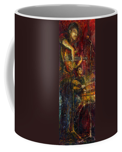 Jazz Coffee Mug featuring the painting Jazz Bass Guitarist by Yuriy Shevchuk