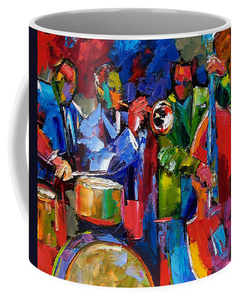 Jazz Coffee Mug featuring the painting Jazz Beat by Debra Hurd