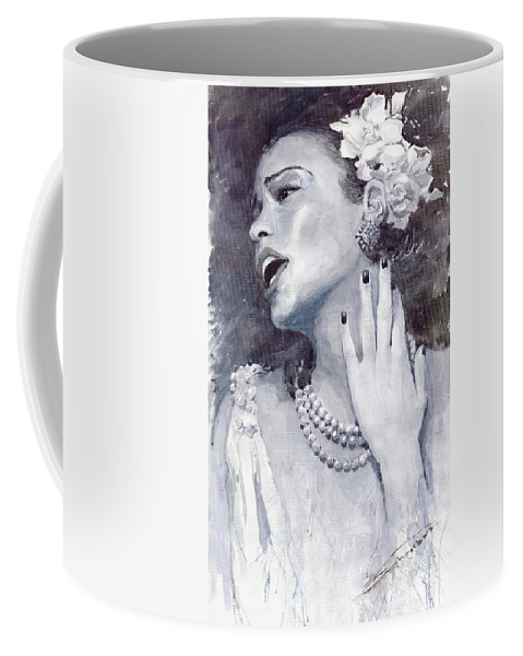 Billie Holiday Coffee Mug featuring the painting Jazz Billie Holiday by Yuriy Shevchuk