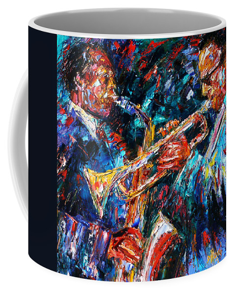 Jazz Coffee Mug featuring the painting Jazz Brothers by Debra Hurd
