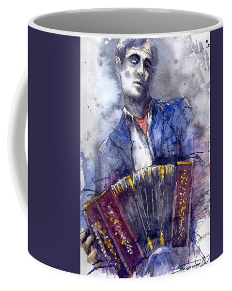 Jazz Coffee Mug featuring the painting Jazz Concertina Player by Yuriy Shevchuk