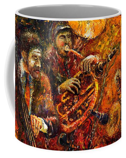 Jazz Coffee Mug featuring the painting Jazz Gold Jazz by Yuriy Shevchuk