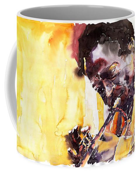 Jazz Music Watercolor Watercolour Miles Davis Trumpeter Portret Coffee Mug featuring the painting Jazz Miles Davis 6 by Yuriy Shevchuk