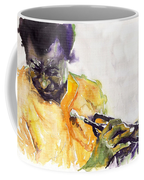 Davis Figurativ Jazz Miles Music Portret Trumpeter Watercolor Watercolour Coffee Mug featuring the painting Jazz Miles Davis 7 by Yuriy Shevchuk