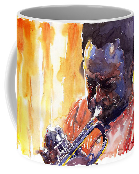 Jazz Miles Davis Music Watercolor Watercolour Figurativ Portret Trumpeter Coffee Mug featuring the painting Jazz Miles Davis 8 by Yuriy Shevchuk