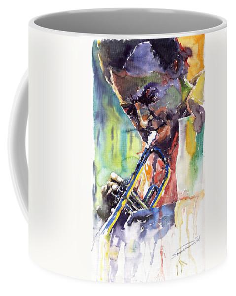 Jazz Coffee Mug featuring the painting Jazz Miles Davis 9 Blue by Yuriy Shevchuk