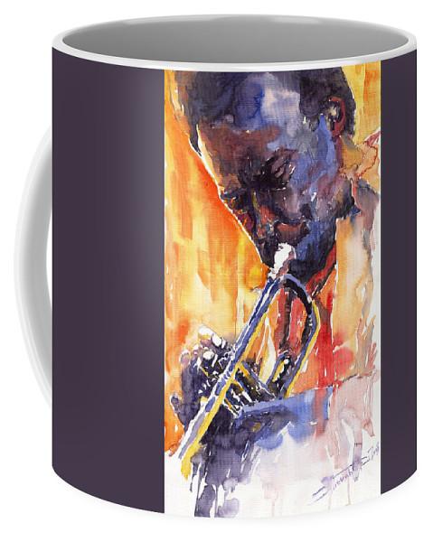 Jazz Coffee Mug featuring the painting Jazz Miles Davis 9 Red by Yuriy Shevchuk