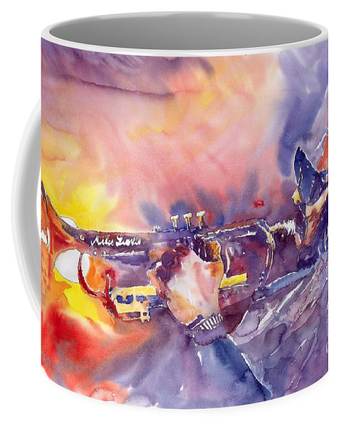 Jazz Watercolor Miles Davis Music Musician Trumpeter Figurative Watercolour Coffee Mug featuring the painting Jazz Miles Davis Electric 1 by Yuriy Shevchuk