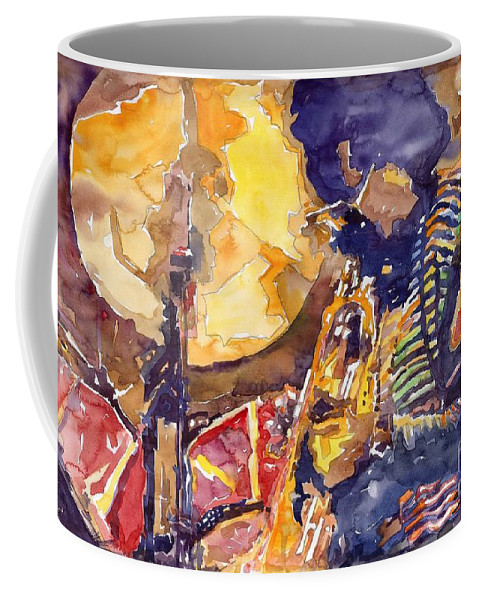 Miles Davis Figurative Jazz Miles Music Musiciant Trumpeter Watercolor Watercolour Coffee Mug featuring the painting Jazz Miles Davis Electric 2 by Yuriy Shevchuk
