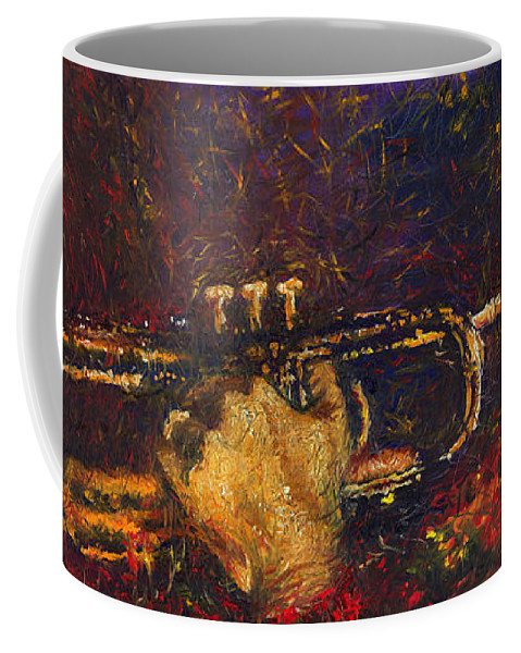 Jazz Coffee Mug featuring the painting Jazz Miles Davis by Yuriy Shevchuk