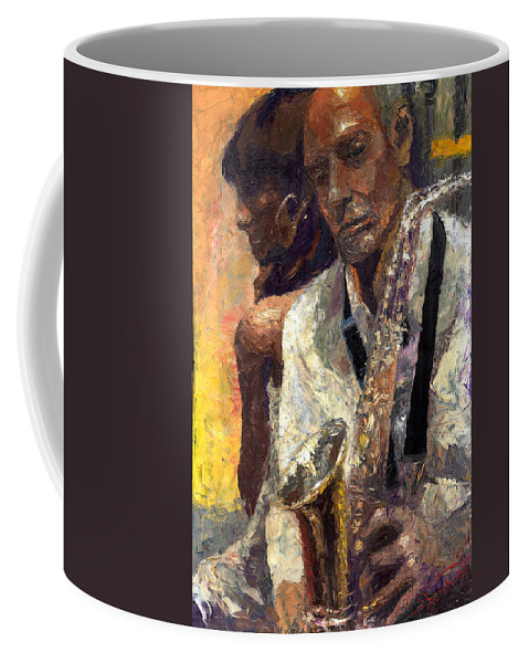 Jazz Coffee Mug featuring the painting Jazz Muza by Yuriy Shevchuk