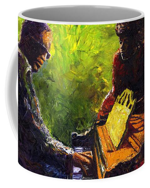 Jazz Coffee Mug featuring the painting Jazz Ray Duet by Yuriy Shevchuk