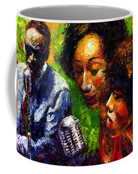 Jazz Coffee Mug featuring the painting Jazz Ray Song by Yuriy Shevchuk