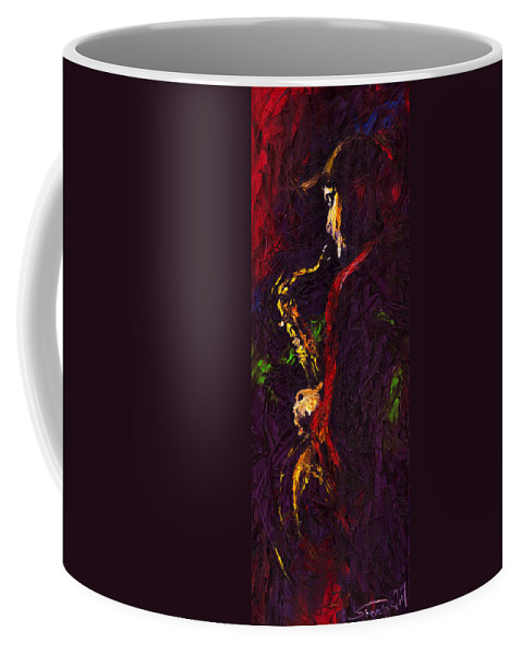 Jazz Coffee Mug featuring the painting Jazz Red Saxophonist by Yuriy Shevchuk