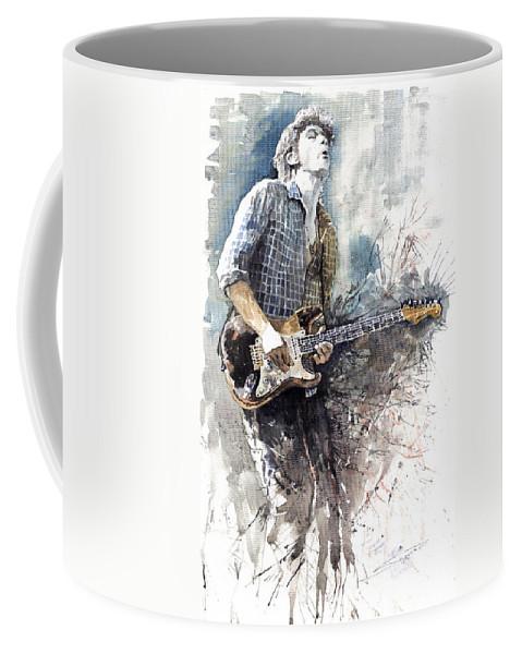 Jazz Coffee Mug featuring the painting Jazz Rock John Mayer 05 by Yuriy Shevchuk