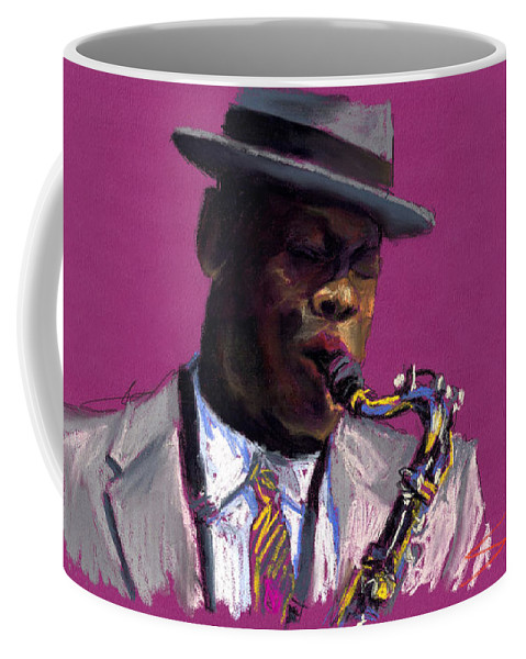 Jazz Coffee Mug featuring the painting Jazz Saxophonist by Yuriy Shevchuk