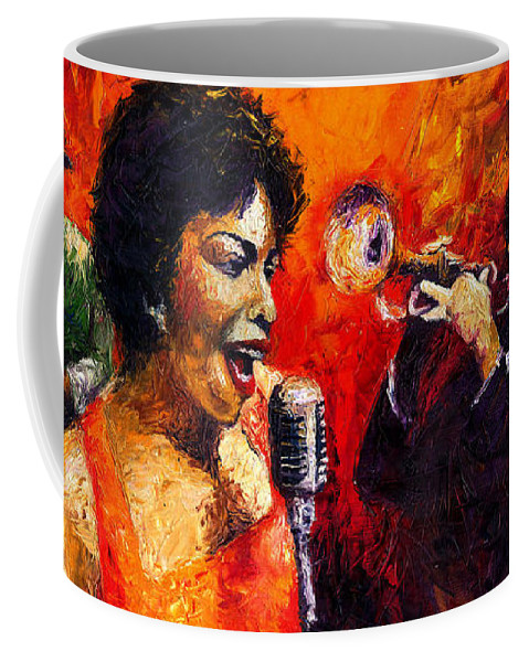 Jazz.song.trumpeter Coffee Mug featuring the painting Jazz Song by Yuriy Shevchuk
