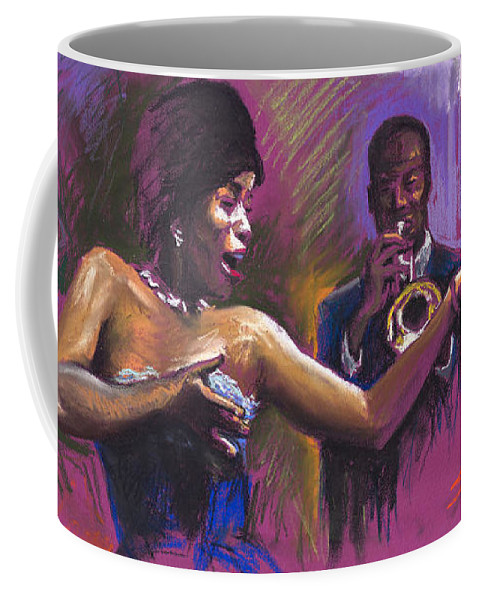 Jazz Coffee Mug featuring the painting Jazz Song.2. by Yuriy Shevchuk