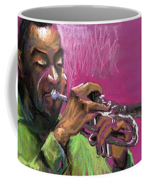 Jazz Coffee Mug featuring the painting Jazz Trumpeter by Yuriy Shevchuk