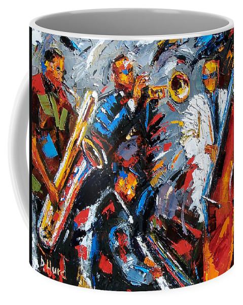 Jazz Coffee Mug featuring the painting Jazz Unit by Debra Hurd