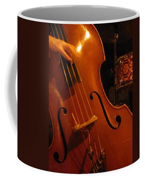 Jazz Coffee Mug featuring the photograph Jazz Upright Bass by Anita Burgermeister