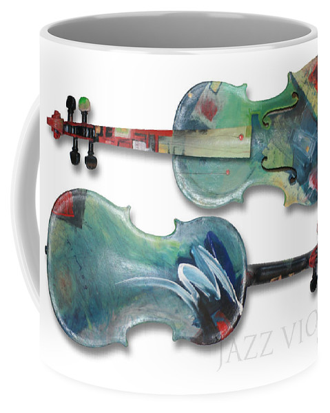 Violin Coffee Mug featuring the painting Jazz Violin - Poster by Tim Nyberg