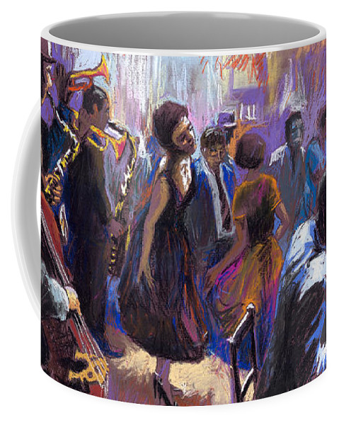 Jazz.pastel Coffee Mug featuring the painting Jazz by Yuriy Shevchuk