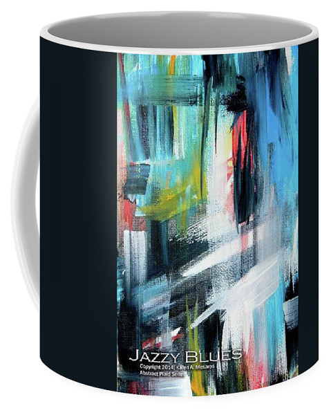 Blue Coffee Mug featuring the painting Jazzy Blues by Karen Mesaros