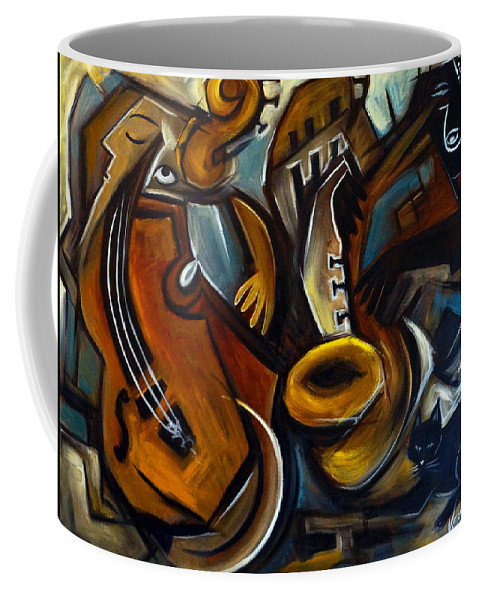 Jazz Coffee Mug featuring the painting Black Cat Jazzz by Valerie Vescovi