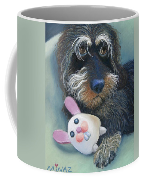 Dog Coffee Mug featuring the painting Jeez Donot Touch Ma Squeez by Minaz Jantz