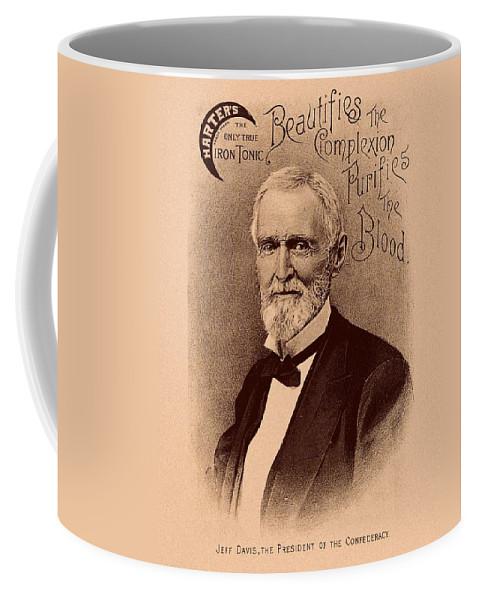 Jefferson Davis Coffee Mug featuring the mixed media Jefferson Davis Vintage Advertisement by War Is Hell Store