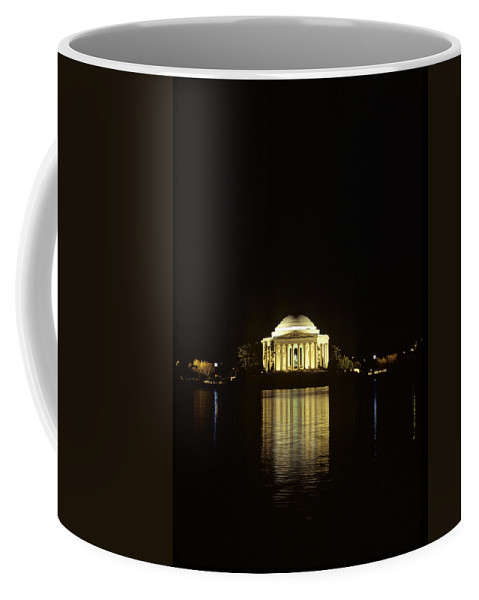 Jefferson Memorial Coffee Mug featuring the photograph Jefferson Memorial At Night, Reflected by Kenneth Garrett