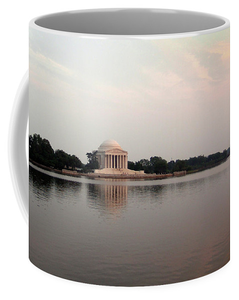 Jefferson Coffee Mug featuring the photograph Jefferson Monument At Sunset by Douglas Barnett