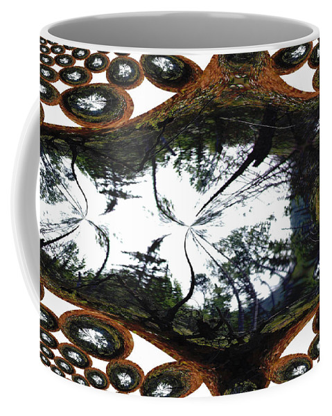 Trees Forest Life Cells Abstract Earth Sky Scenery Weird Different Green Land Coffee Mug featuring the photograph Jellin by Andrea Lawrence
